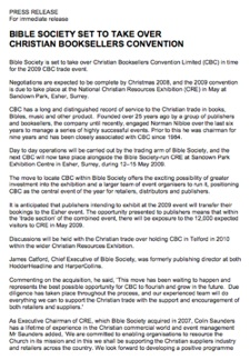 CBC/Bible Society Press Release, 12th November 2008