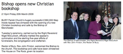Bishop opens new Christian Bookshop - Bury Times, 20/03/2009
