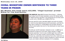 Compass Direct - 3 Year Prison Sentence for Shi Weihan