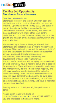 Christian Gateway Watford Noticeboard: Exciting Job Opportunity:  Storehouse General Manager