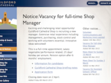 Jobs Page Update: Cathedral Shop Vacancies in Durham and Guildford