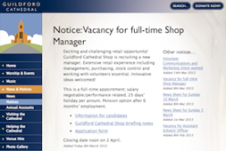 Guildford Cathedral - Notice: Vacancy for full-time Shop Manager