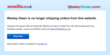 Wesley Owen is no longer shipping orders from this website: website screenshot 25/10/2015