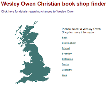 Wesley Owen Store Finder Today