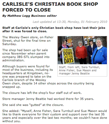 Carlisle's Christian Bookshop Forced to Close