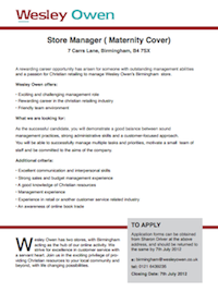 Wesley Owen: Store Manager (Maternity Cover) Birmingham (pdf, 168kb)