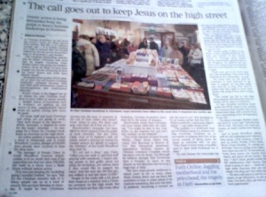 The Times, Saturday 16 Jan 2010 - The call goes out to keep Jesus on the High Street