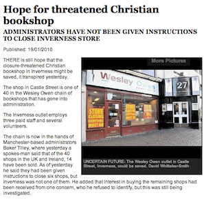 Wesley Owen Inverness: Hope for threatened Christian bookshop