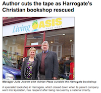 Ripon and Leeds Diocesan News: Author cuts the tape as Harrogate's Christian bookshop rescued