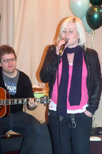 Lou Fellingham (singing) and Jos Wintermeyer (guitar) on Opening Day at the Hub, Walsall