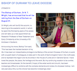 Bishop of Durham to Leave Diocese