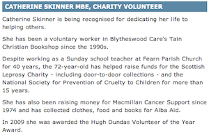 Catherine Skinner MBE, Charity Volunteer