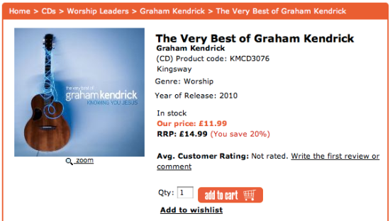The Very Best of Graham Kendrick: Kingsway price £11.99, Kingsway RRP £14.99