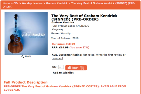 The Very Best of Graham Kendrick: Pre-order price £10.99 compared to RRP £14.99