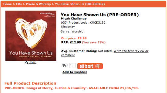 You Have Shown Us: Songs of Justice, Mercy and Humility: Pre-order price, £9.99; RRP, £12.99