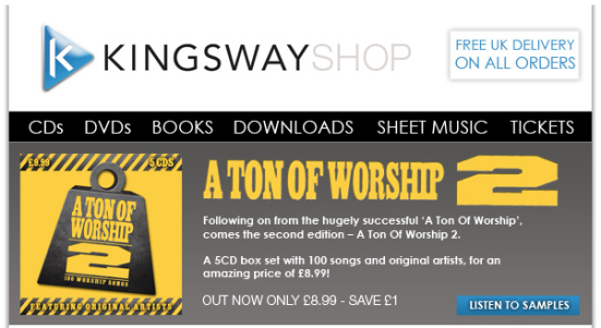 kingswayshop.com - Ton of Worship 2 - out now, £8.99 save £1