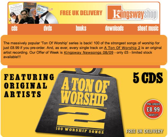 Kingsway Ton of Worship 2 - pre-order offer: £8.99, save £1