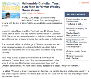 Nationwide Christian Trust puts faith in former Wesley Owen stores