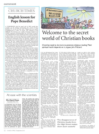 """Welcome to the secret world of Christian books"":  John Pritchard, Bishop of Oxford, Church Times, 10 Sept 2010, p.12"