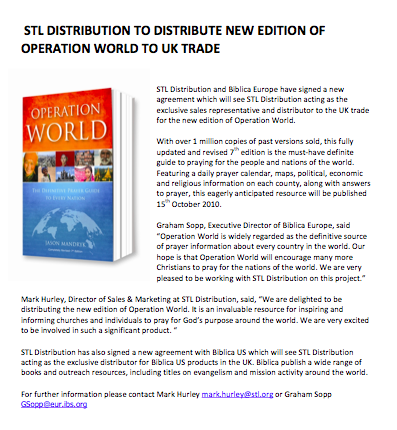 Press Release, 17 Sept 2010: STL Distribution to Distribute New Edition of Operation world to UK Trade