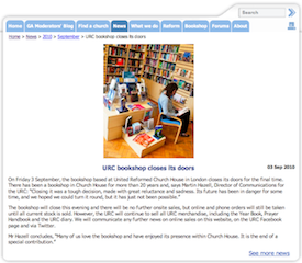 URC News, 03 Sep 2010: URC bookshop closes its doors