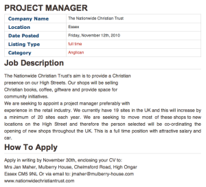 Project Manager: Nationwide Christian Trust