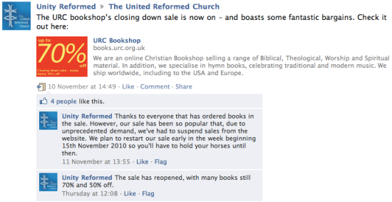 URC Bookshop: Sale suspended due to unprecedented demand