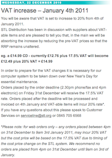 STL UK: VAT increase – January 4th 2011
