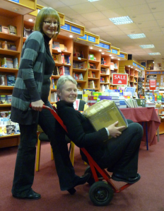 Alison pushing Janette as Christian Resources, Leicester, prepares to move!