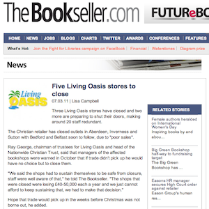 The Bookseller: Five Living Oasis stores to close