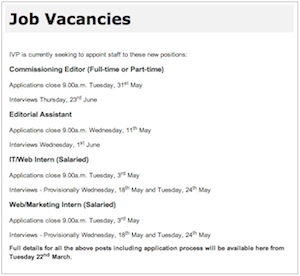 IVP Vacancies, March 2011