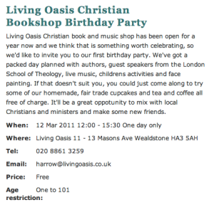 Living Oasis Christian Bookshop Birthday Party