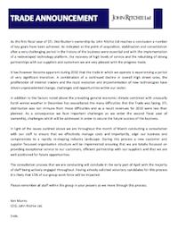 Trade Announcement from John Ritchie Ltd 08/03/2011 (pdf, 53kb)