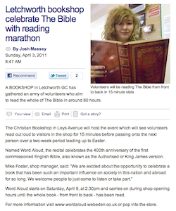 The Comet 24: Letchworth bookshop celebrate The Bible with reading marathon