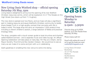 Living Oasis Watford: Official Reopening 2pm, Sat 7th May 2011