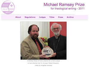 David Bentley Hart receives the Michael Ramsey Prize 2011 from the Archbishop of Canterbury