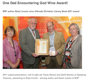Brad Lincoln receives the Speaking Volumes 'Ultimate Christian Library Book' Award 2011