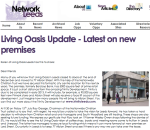 Network Leeds: Living Oasis Update - Latest on new premises
