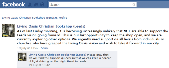 Living Oasis Leeds: facebook announcement, 19/07/2011: As of last Friday morning, it is becoming increasingly unlikely that NCT are able to support the Leeds vision going forward...