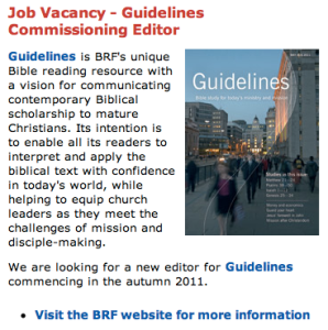BRF Job Vacancy: Guidelines Commissioning Editor