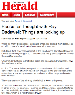 Eastbourne Herald, 15/08/2011: 'Things are looking up'