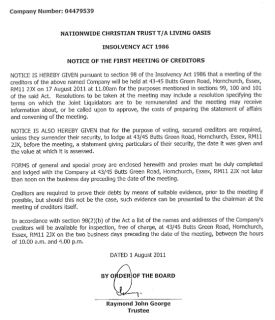 Insolvency Notice issued by Nationwide Christian Trust 1st August 2011