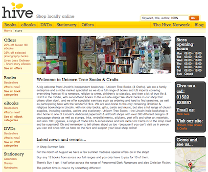 Customised Hive Home Page for Unicorn Tree Books & Crafts