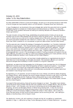 David C Cook/Kingsway Key Stakeholder Letter 21 Oct 2011 (pdf, 111kb)
