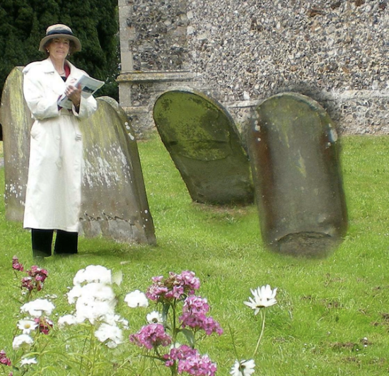 Researcher at work: Donna Fletcher Crow amongst the tombstones