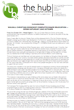 Press Release, 21/10/2011: Walsall Christian Bookshop Completes Major Relocation - Opens Saturday 22nd October