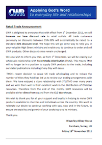 CWR Trade Announcement 18/11/2011