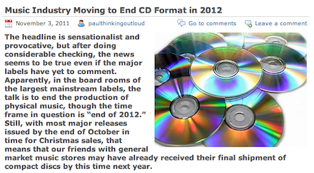 Christian Book Shop Talk: Music Industry Moving to End CD Format in 2012
