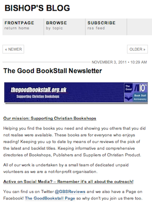 Bishop's Blog: The Good Bookstall Newsletter
