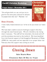 Cardiff Christian Bookshop - Prayer Letter, November 2011 (pdf, 418kb)